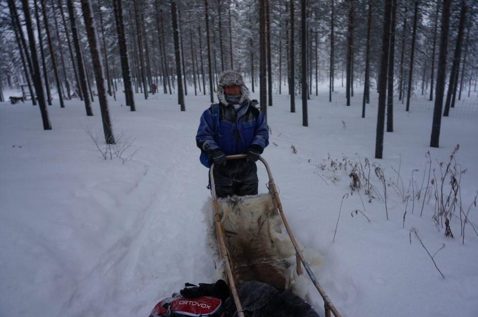 Achter de slee, alles bevroren!
