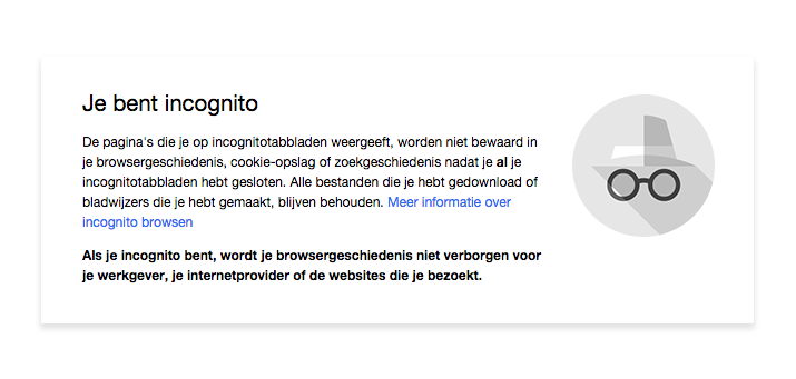 Incognito modus in Google Chrome