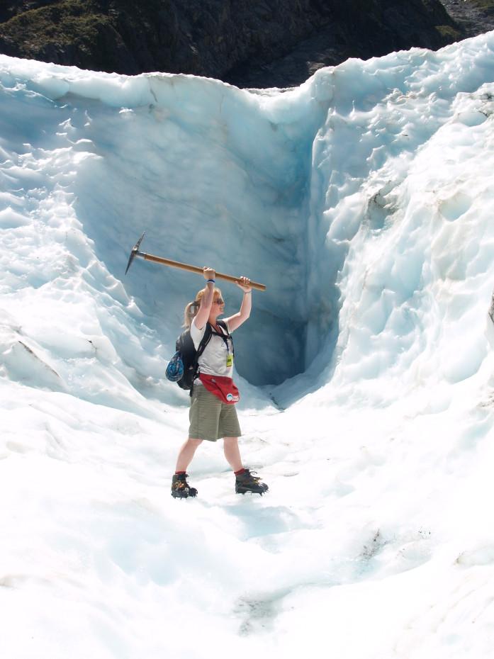 Met de pikhamer op de Franz Joseph glacier