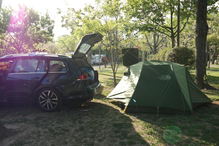 Aangekomen op de camping bij Vallon-Pon-d'Arc