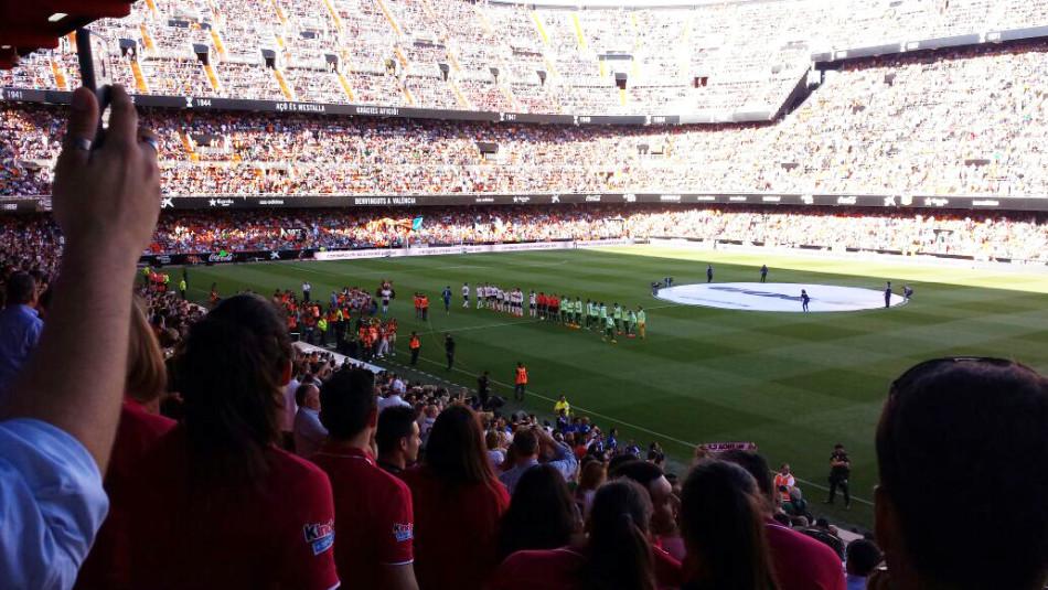 In het stadion Mestalla in Valencia