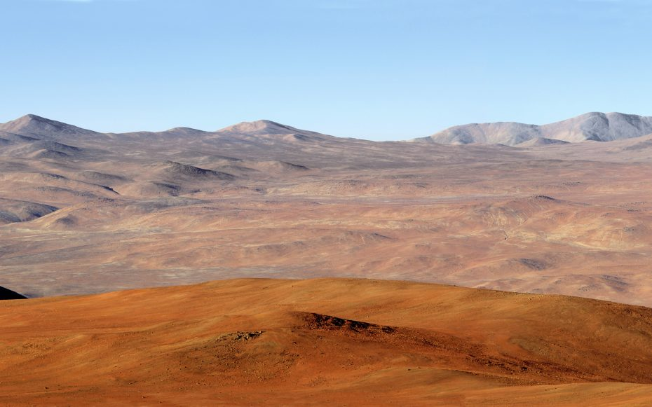 The above panorama shows a view of the Atacama Desert as seen from the ESO Paranal Observatory, home to the Very Large Telescope. To the right of the image, one can see the road leading to the summit of Cerro Armazones, a site located in Chile, and a possible home for the future European Extremely Large Telescope (E-ELT). The E-ELT programme office has studied half a dozen potential sites for the future E-ELT observatory, which, with its 40-metre-class diameter, will be the world's biggest eye on the sky. Various aspects need to be considered in the site selection process. On the E-ELT Site Selection Advisory Committee's final short list for the recommended site, Armazones is also the committee's preferred site, because it has the best balance of sky quality across all aspects and can be operated in an integrated fashion with the existing Paranal Observatory.
