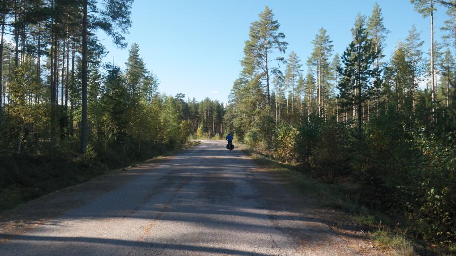 De fietsroute gaat over op gravel