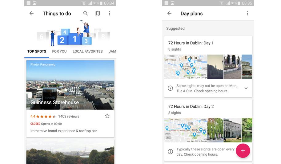 Google Trips: zoek op je bestemming eenvoudig naar restaurants, winkels en tours.