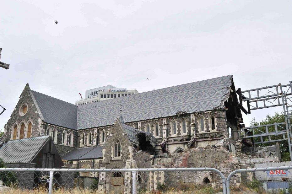 Cathedral in Christchurch - na de aardbeving