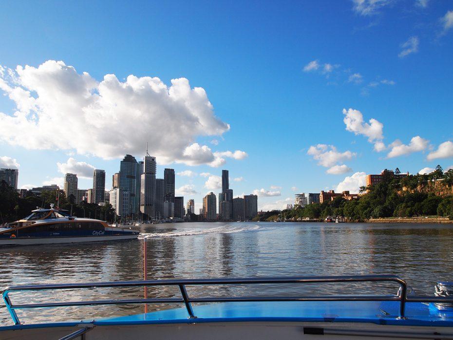 Met de ferry in Brisbane!