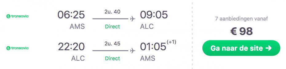 Goedkope vlucht Amsterdam naar Alicante in Spanje
