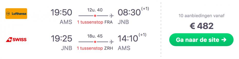 Goedkope vlucht Amsterdam naar Johannesburg in Zuid-Afrika