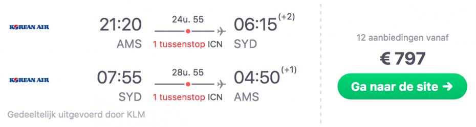 Goedkope vlucht vanaf Amsterdam naar Sydney in Australië