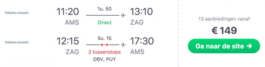 Goedkope vlucht Amsterdam naar Zagreb in Kroatië!