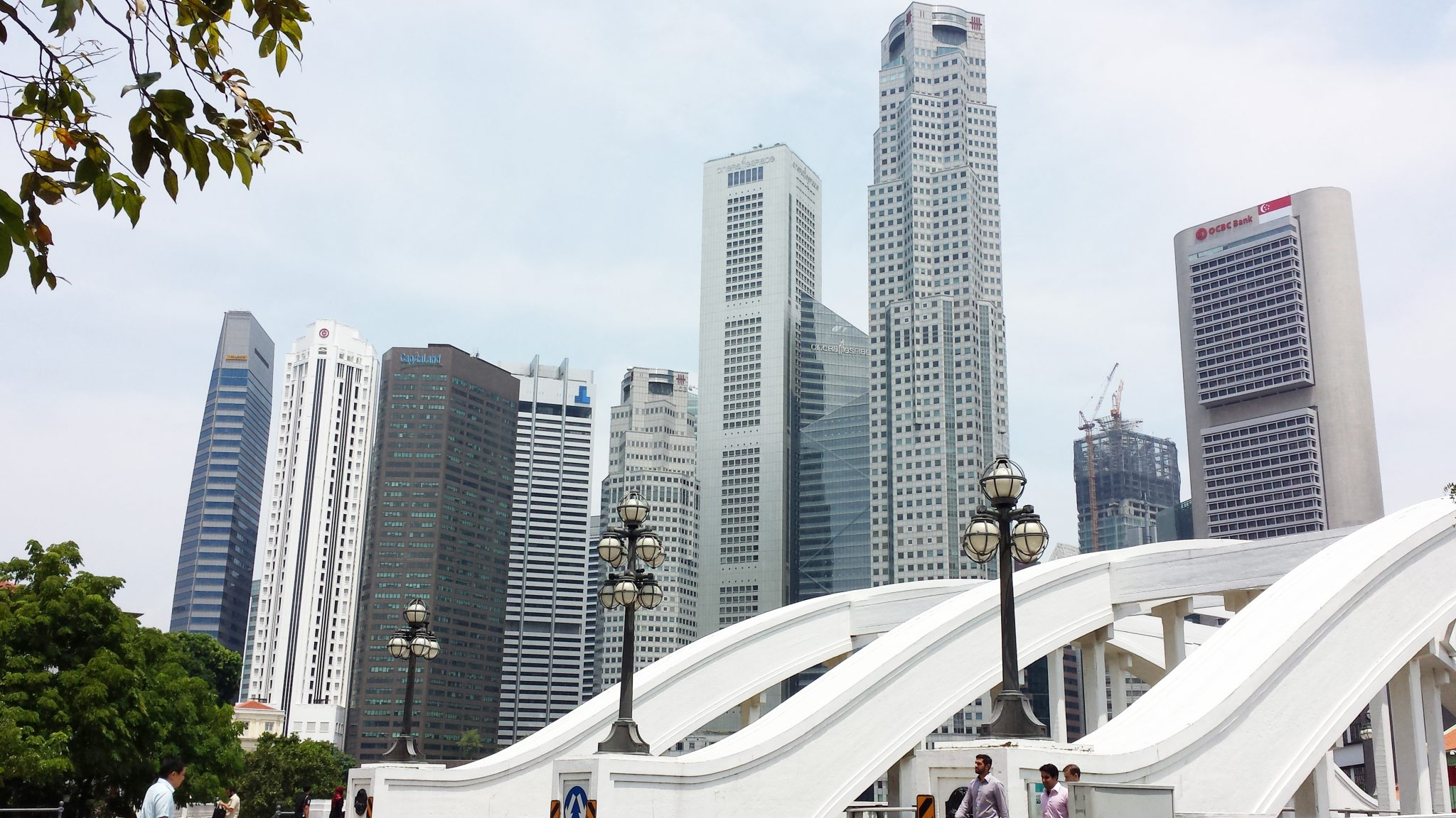 Veel hoogbouw in het centrum van Singapore!