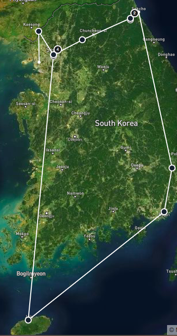 Reisroute door Zuid-Korea
