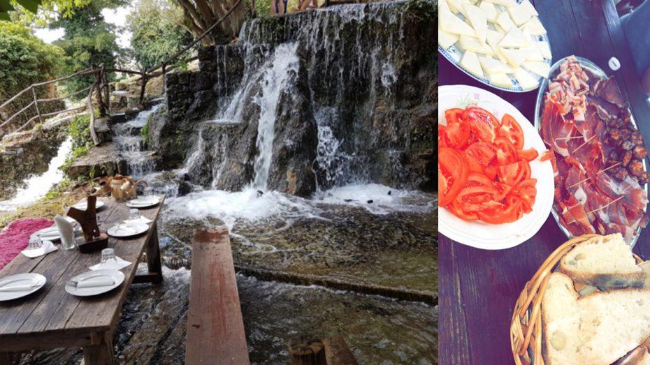 Eten met een uitzicht op een waterval