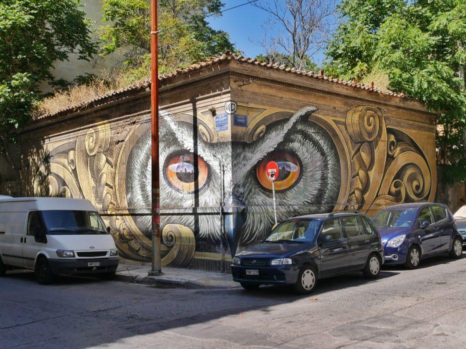Gave muurschildering vlakbij ons hotel in Athene