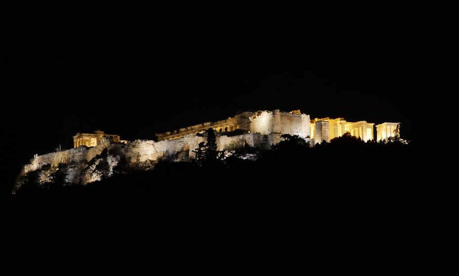 Athene in de avond