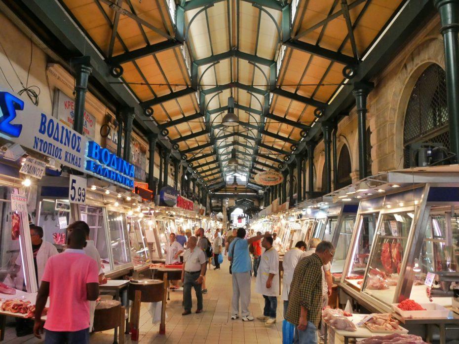 Grote vleesmarkt in Athene