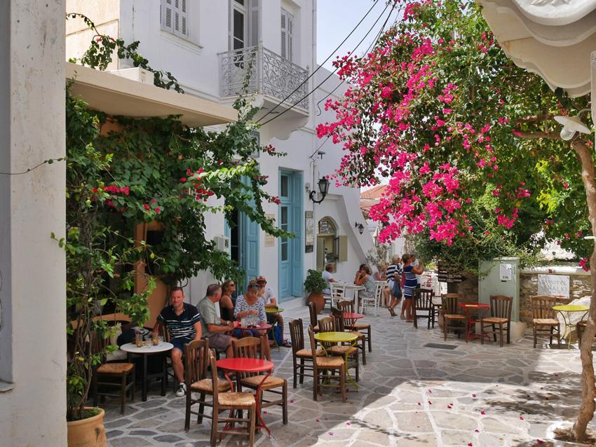 Frappe drinken in Halki op Naxos