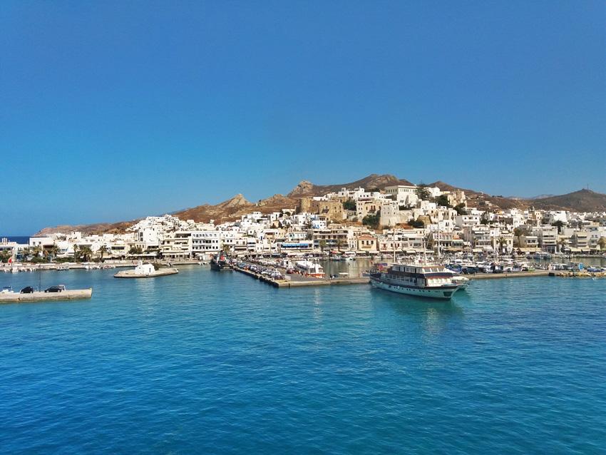 Naxos-stad vanaf de ferry!