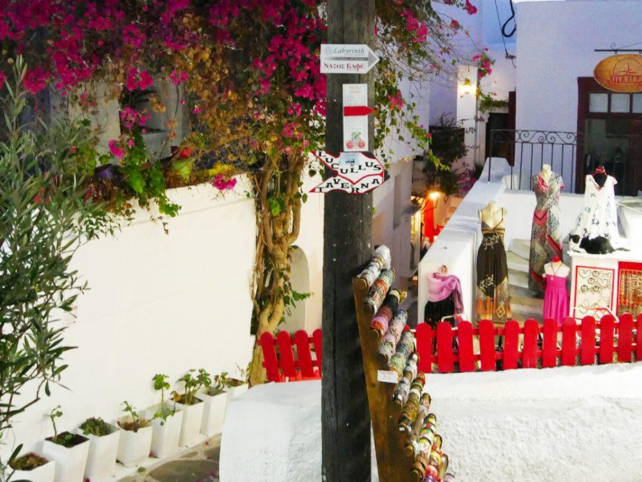 Winkelen in The Old Market in Naxos stad