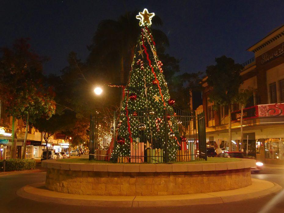 Kerstsfeer in het centrum van Rockhampton
