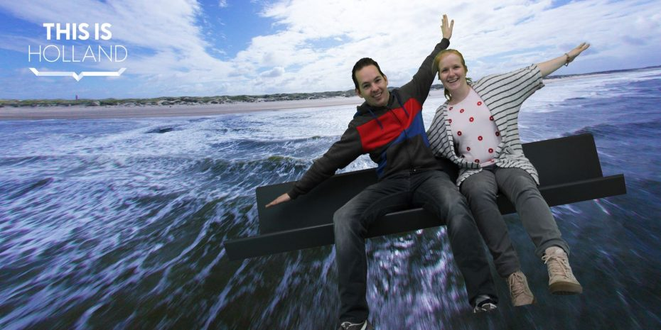 Jesper en Marloes voor het green screen