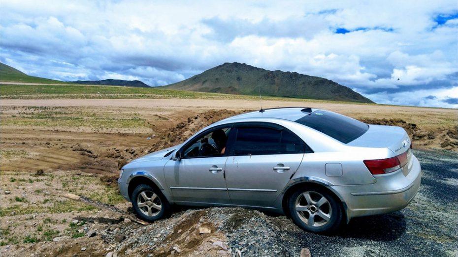 Slechte wegen in Mongolië
