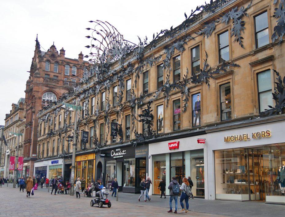 Grote winkelstraat in Glasgow