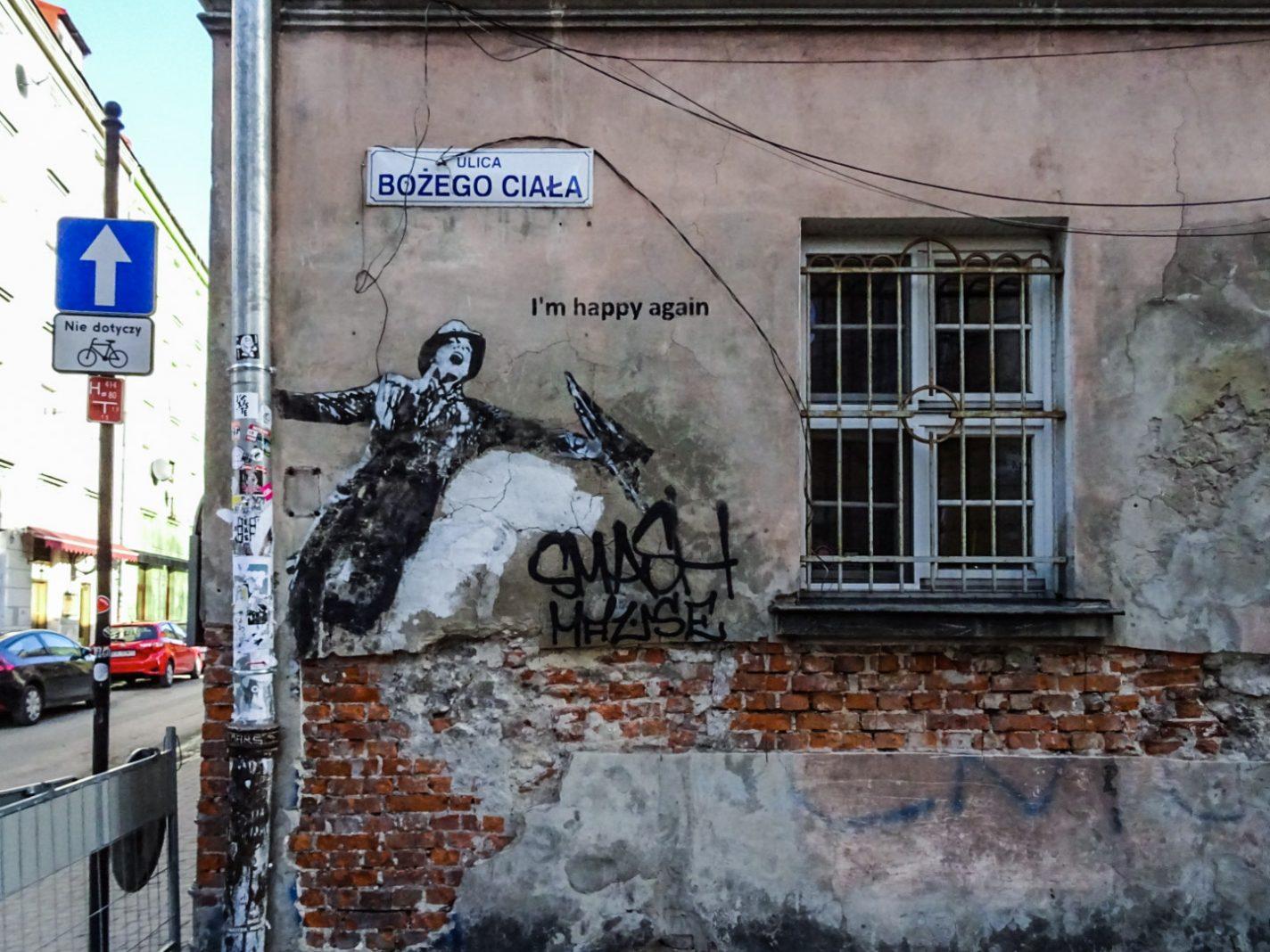 Muurschildering in De Joodse wijk Kazimierz - Citytrip Krakau