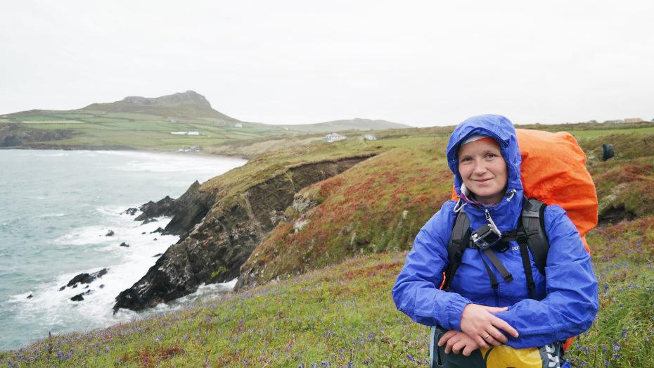 Marloes in Wales tijdens haar hikingtocht