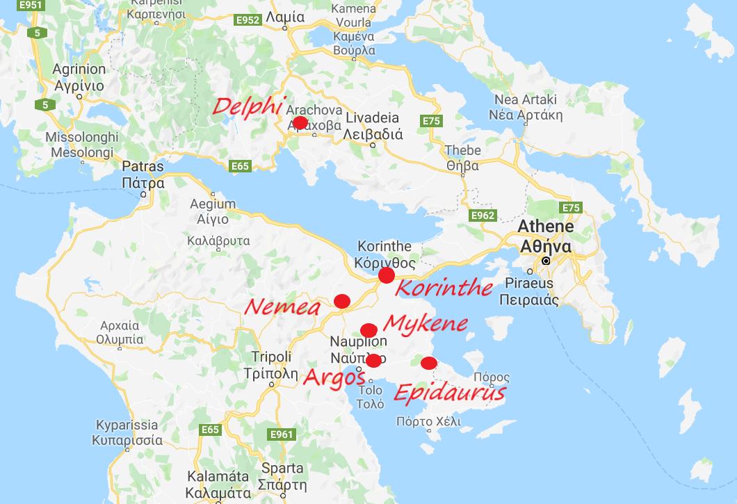 De plaatsen die ik aandeed tijdens de roadtrip door Griekenland