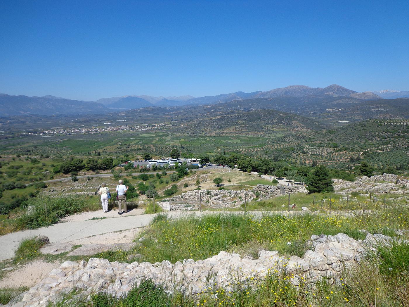 Uitzicht over de streek van Mykene, vanaf de plek waar ooit het paleis stond