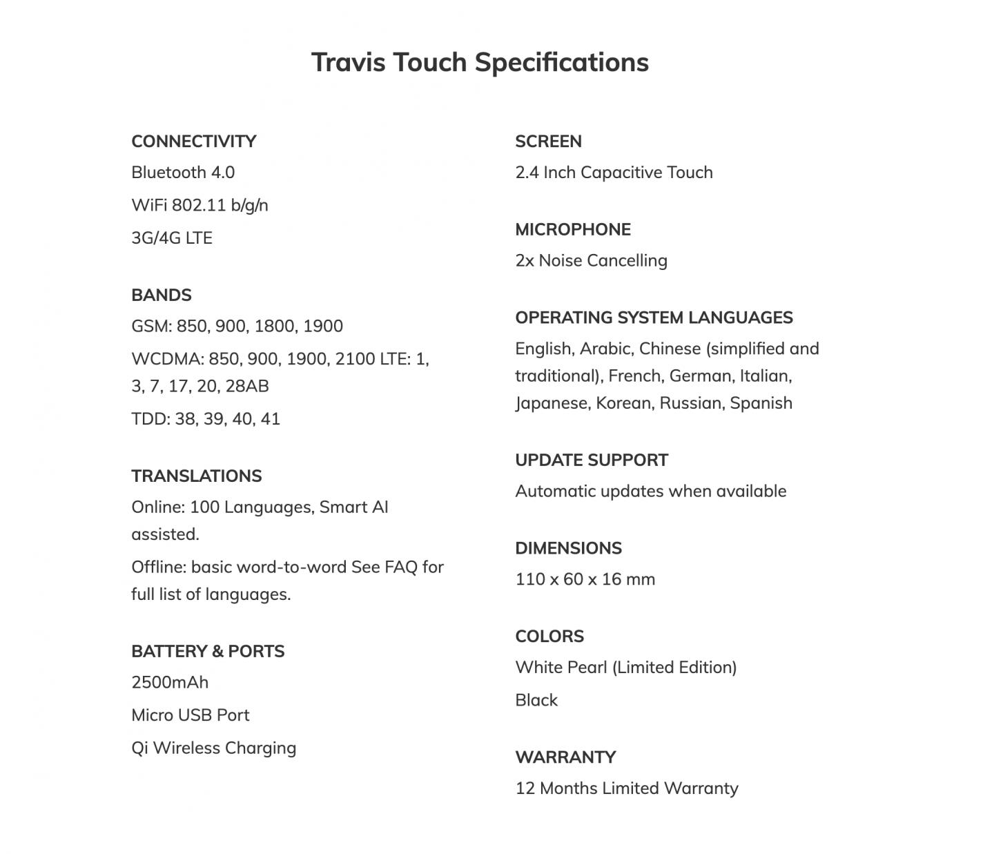 Travis Touch translator specificaties