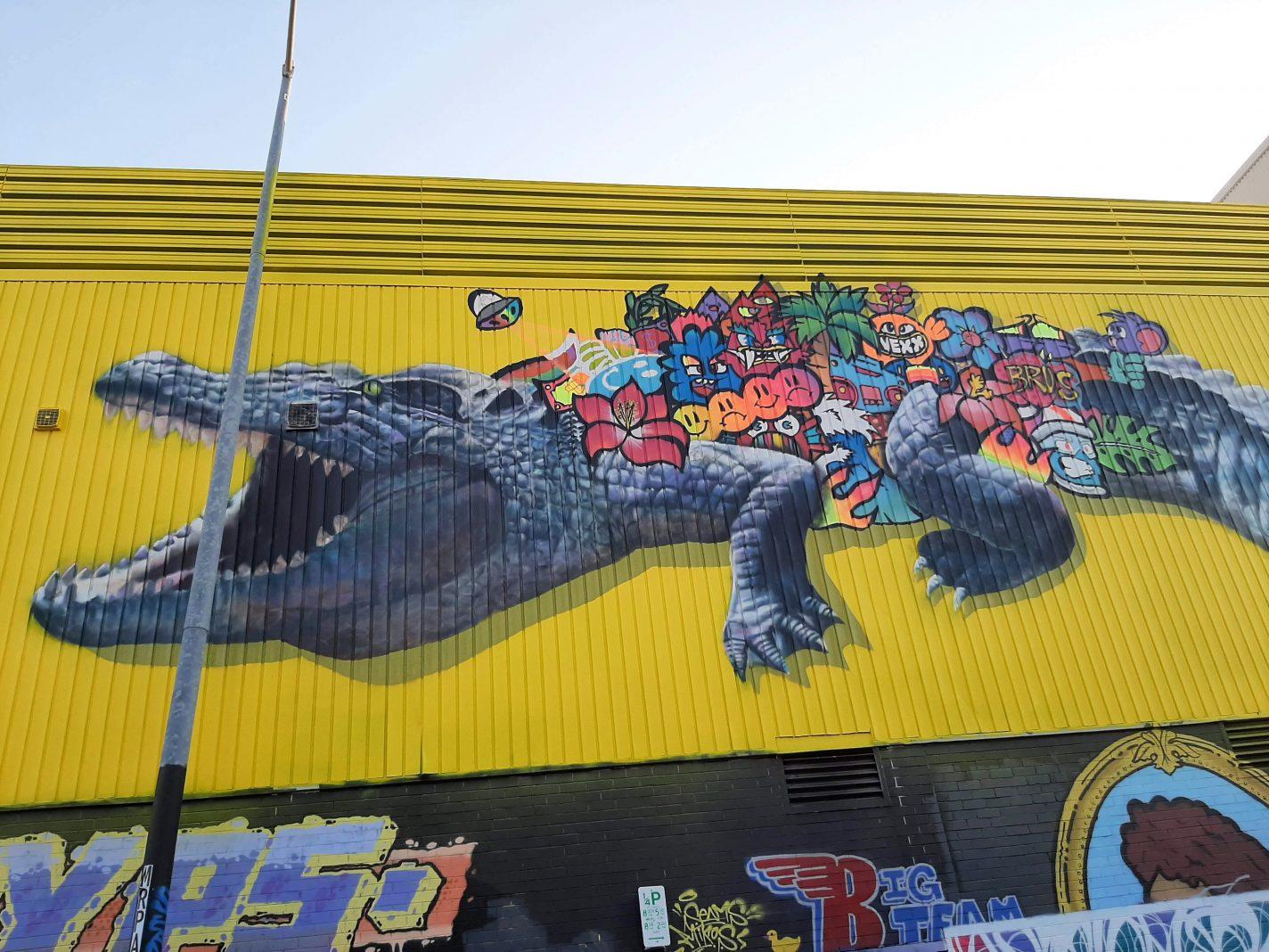 Grote krokodil op de muur gemaakt tijdens het Darwin Street Art Festival
