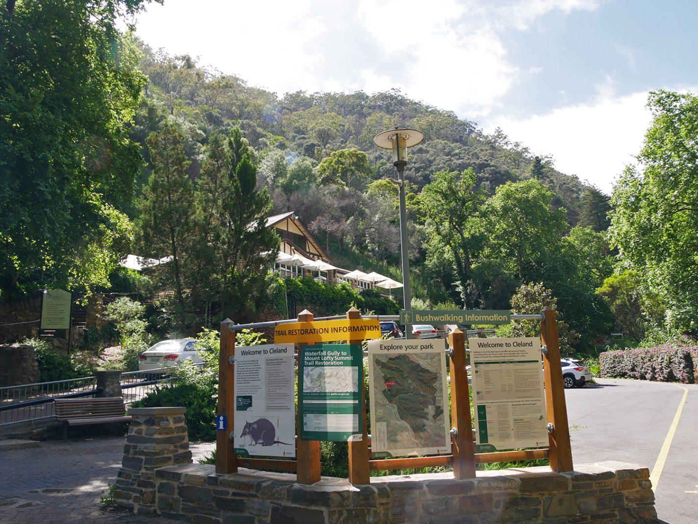 Het vertrekpunt bij Waterfall Gully
