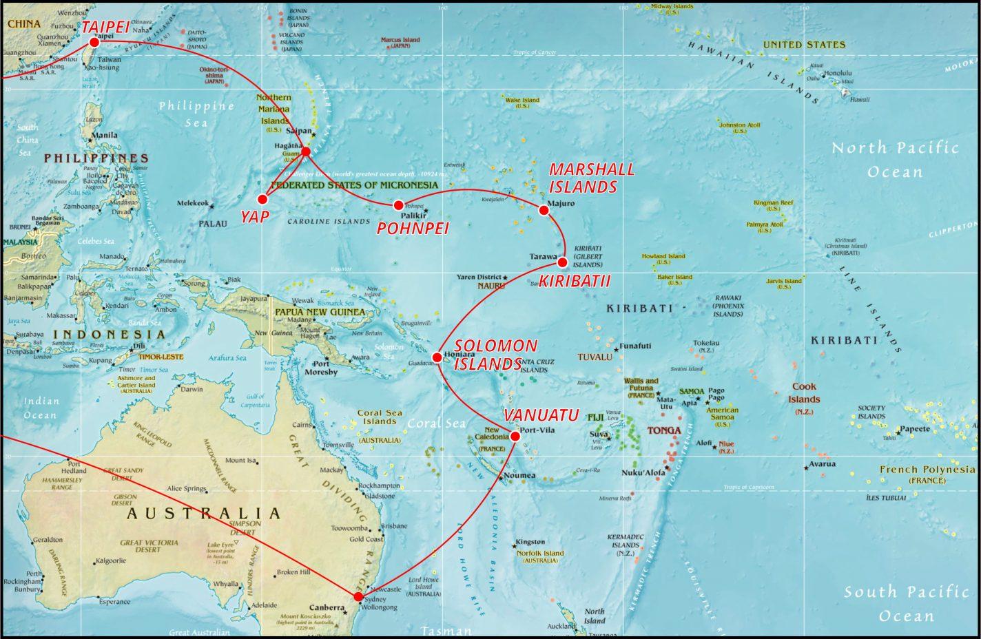 Kaart met de route door Micronesië