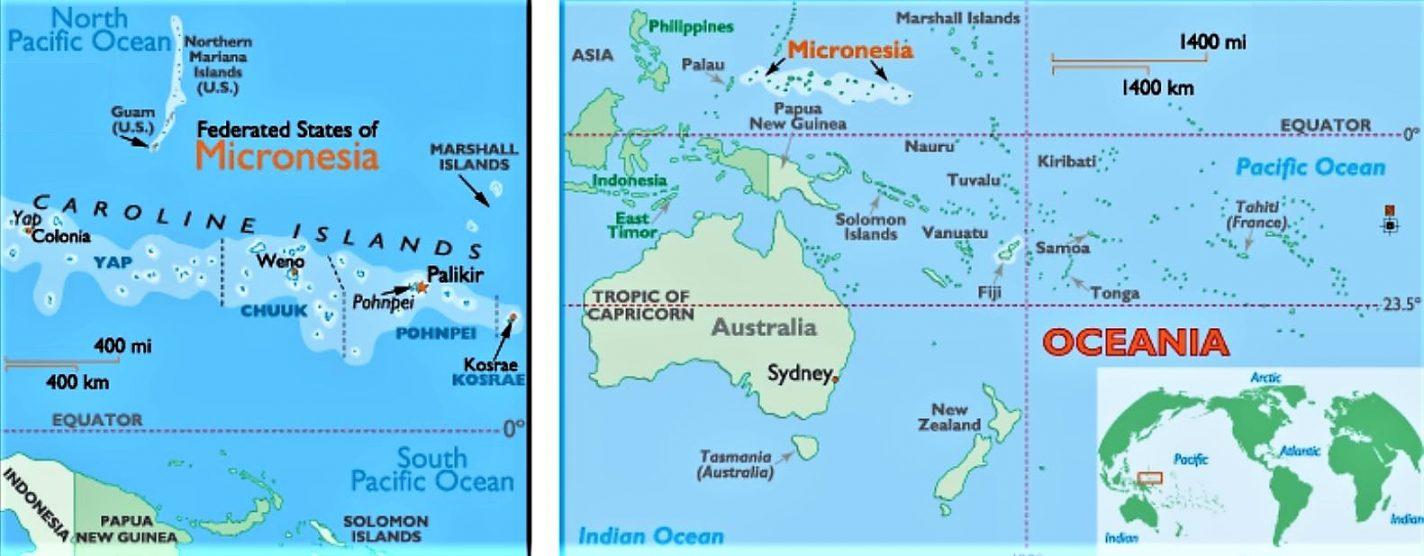 Kaartje van Micronesië in Oceanië