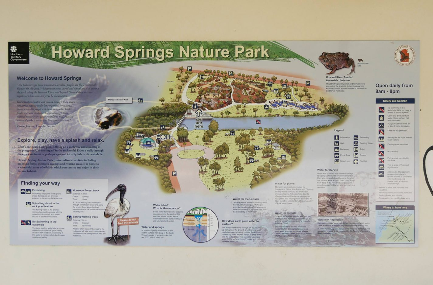 Plattegrond van Howard Springs Nature Park