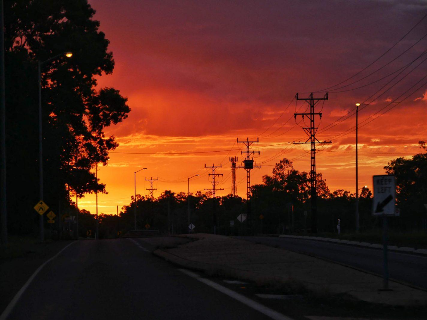 Schitterende zonsondergang in Darwin
