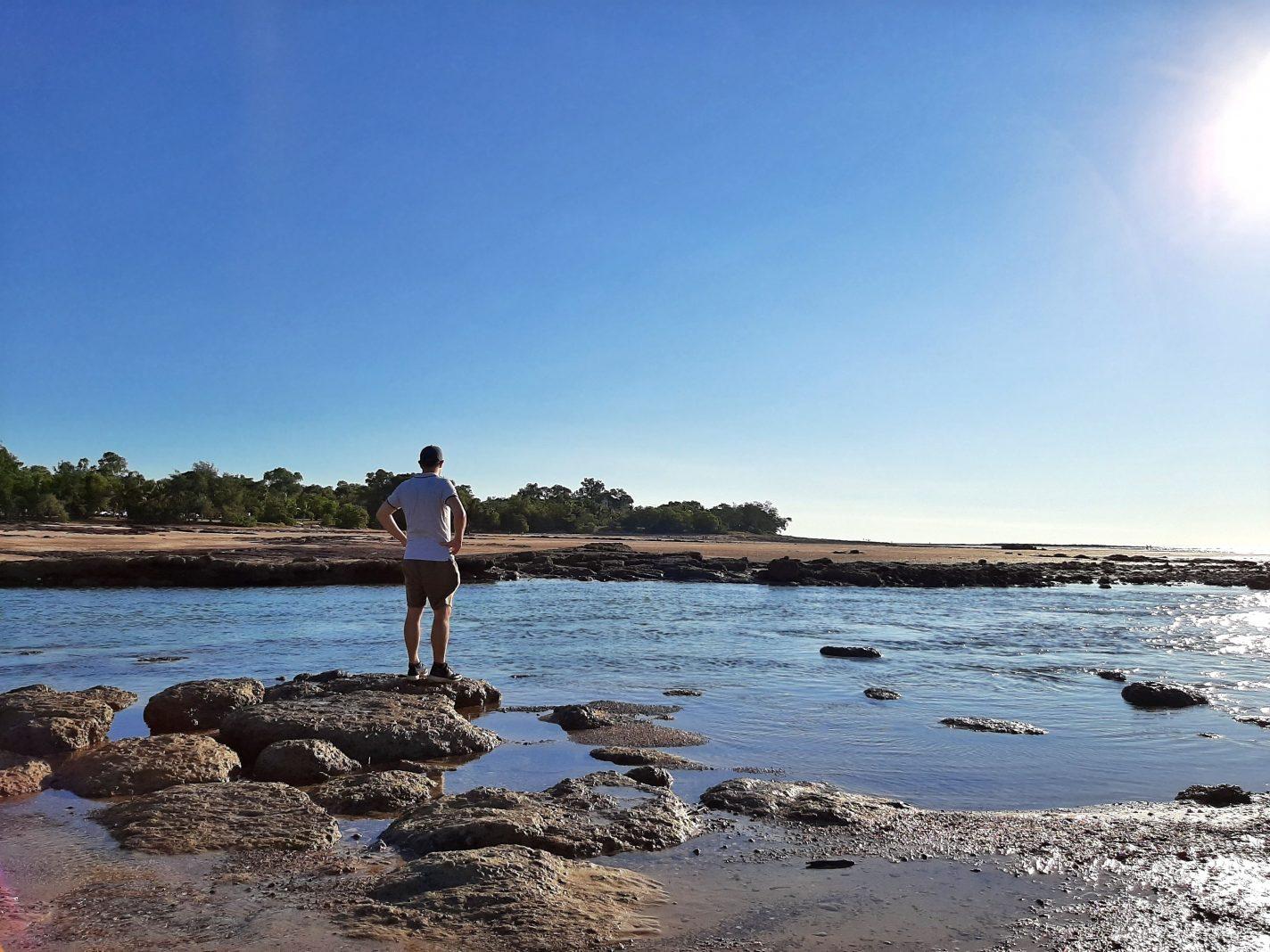 Uitzicht op het water, waar krokodillen kunnen zitten