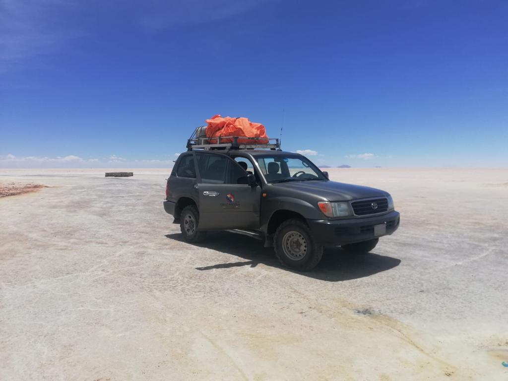 Onze jeep tijdens de zoutvlaktes - doen in Bolivia