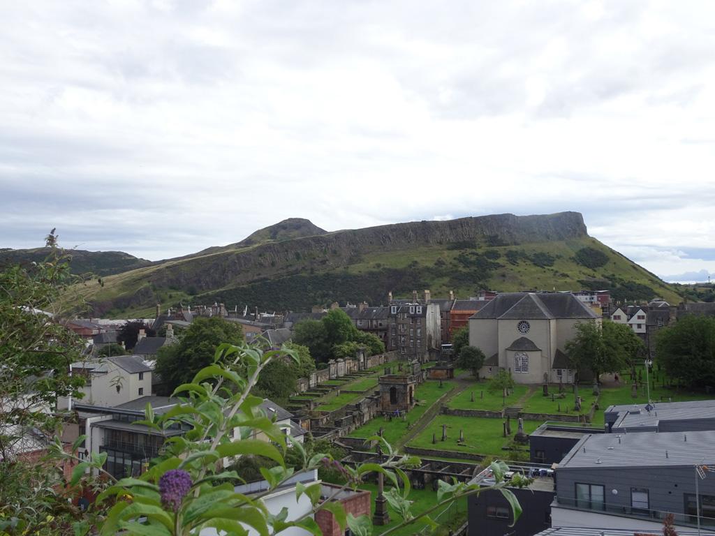 Uitzicht op Arthur's Seat onderweg naar Calton Hill