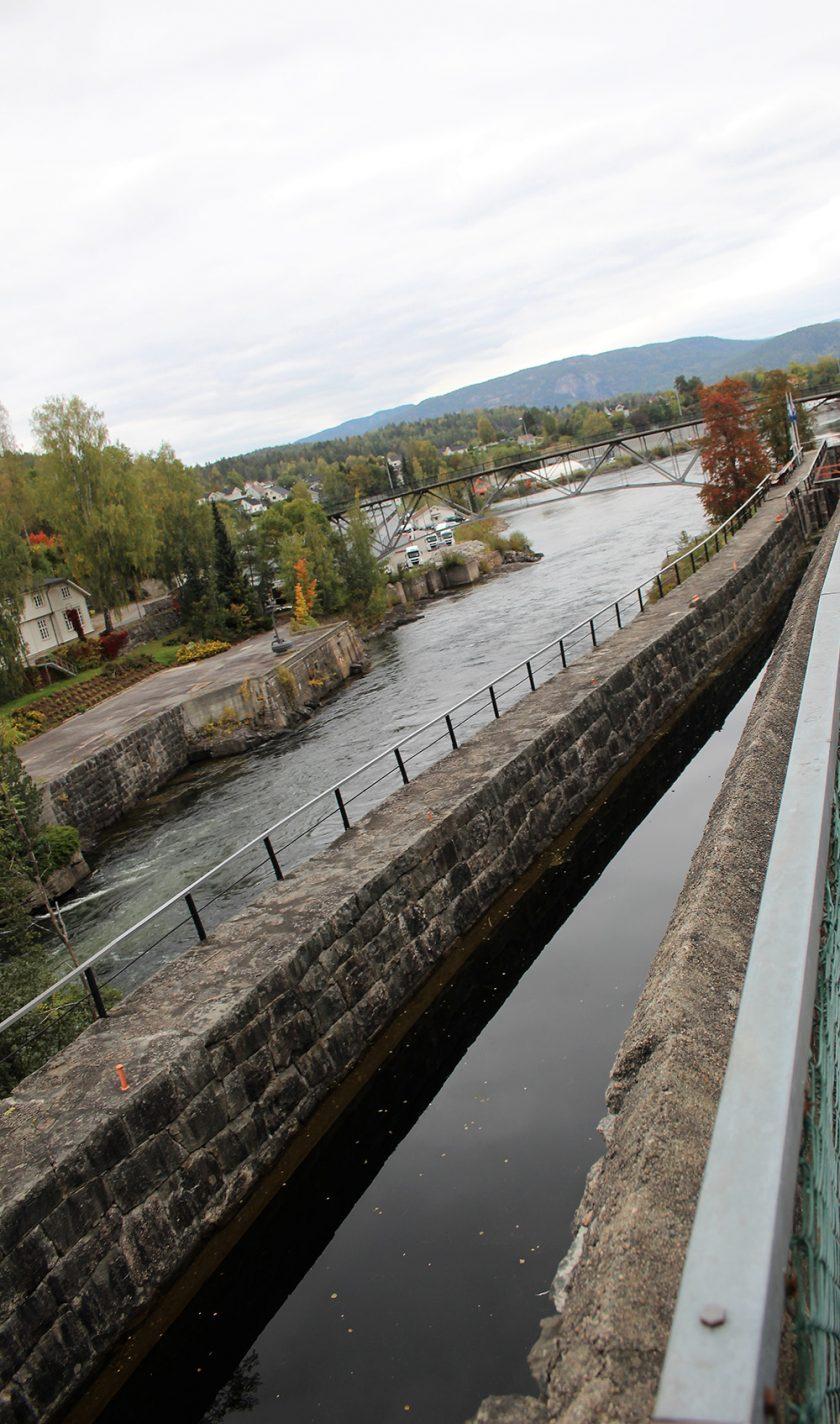 Een deel van het Telemarkkanaal in Ulefoss