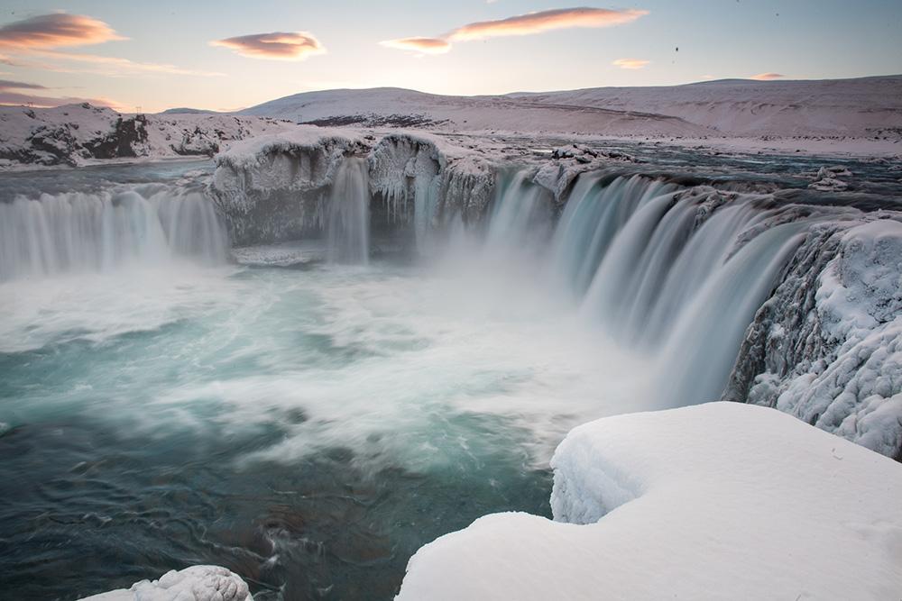 Goðafoss waterval - IJsland in de winter