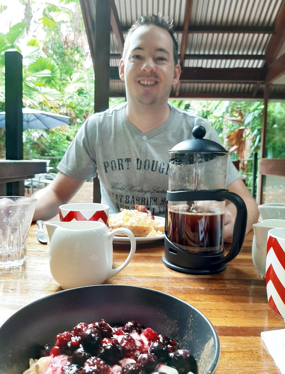 Tijdens het ontbijt. Was voortreffelijk!