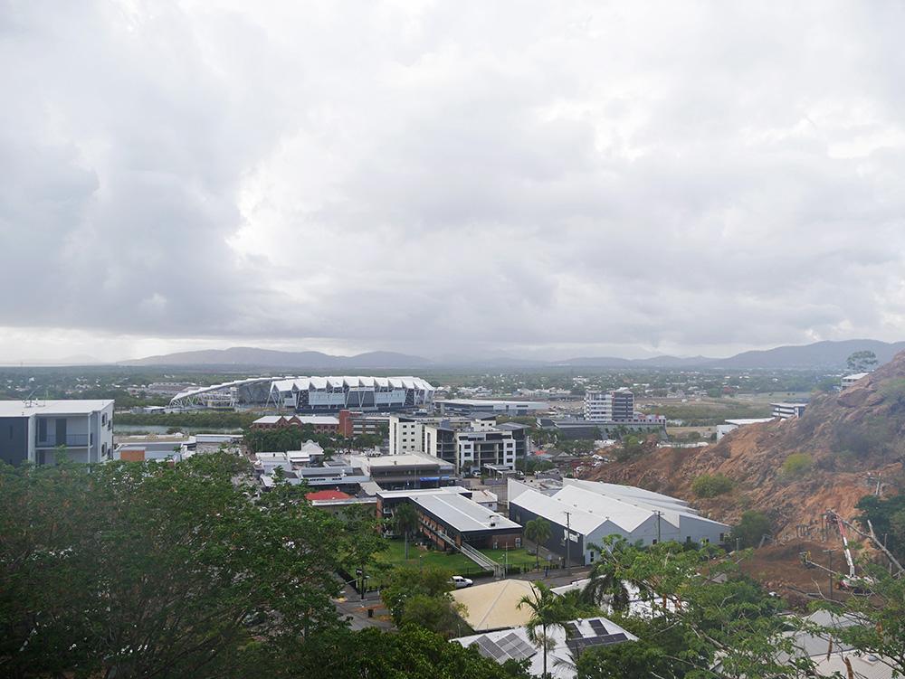 Uitzicht op het stadium vanaf Castle Hill