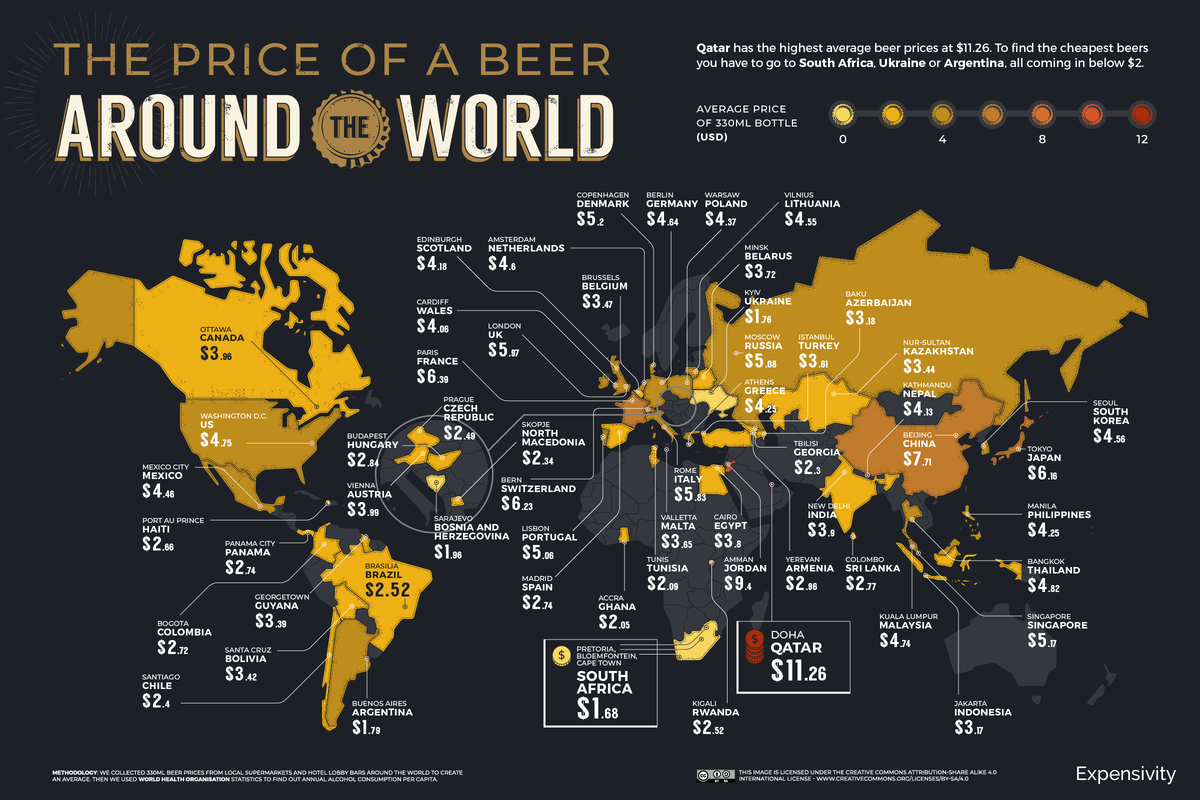 De prijs van een biertje wereldwijd - 2021