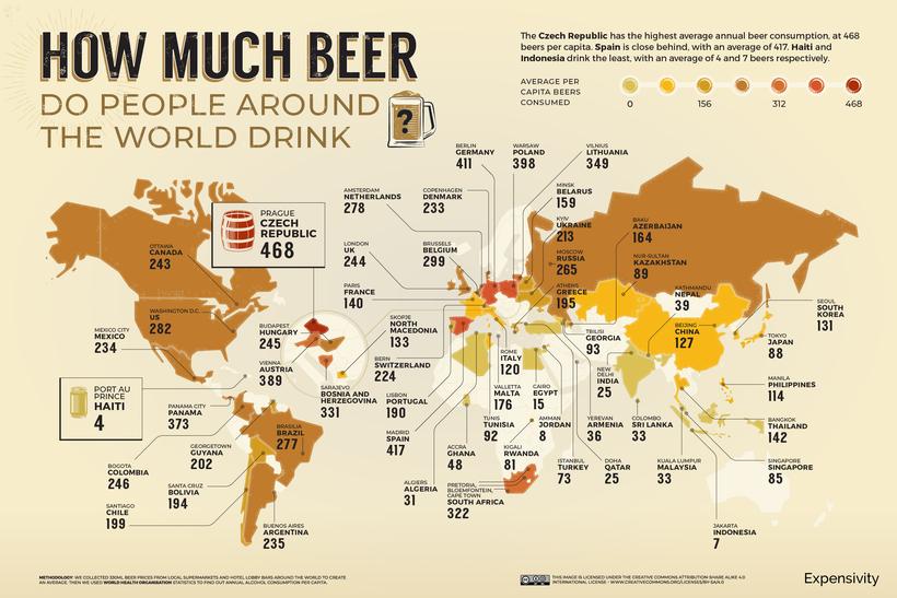 Hoeveel bier drinken mensen over de hele wereld