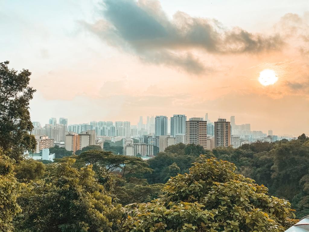 Zonsopkomst over Singapore